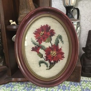 VTG Framed Red Floral Cross-stitch